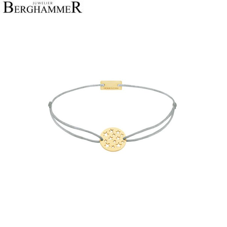 Filo Armband Textil Hellgrau Sterne 925 Silber gelbgold vergoldet 21202632