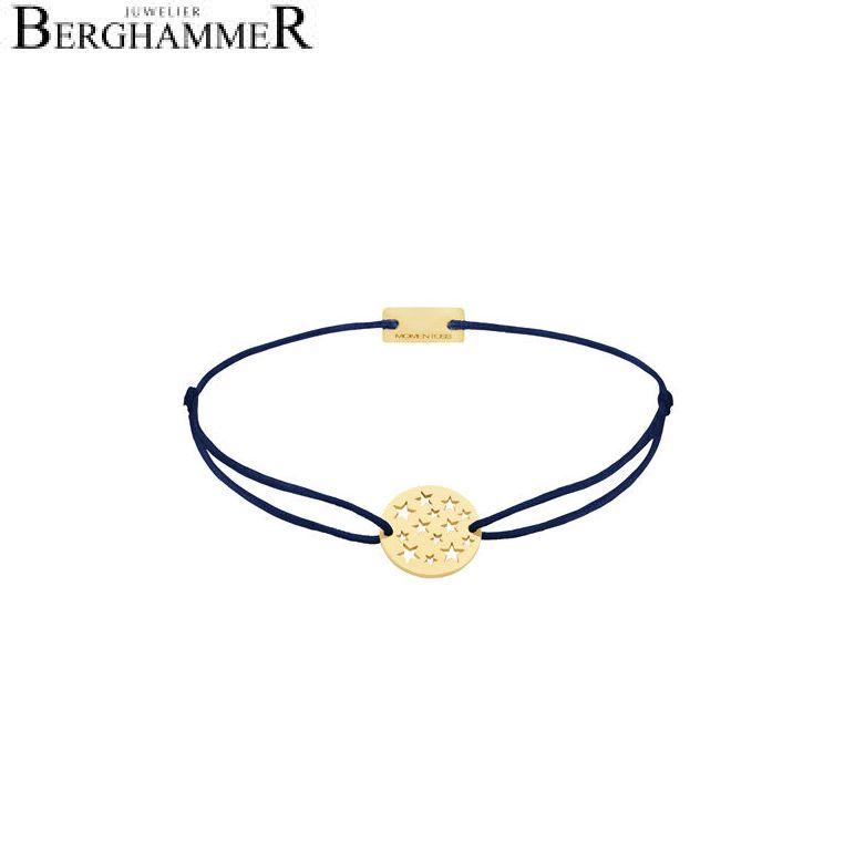 Filo Armband Textil Dunkelblau Sterne 925 Silber gelbgold vergoldet 21202637
