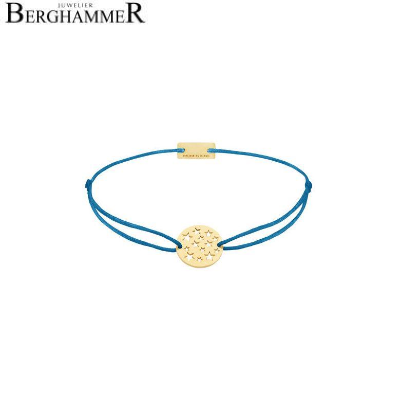 Filo Armband Textil Petrol Sterne 925 Silber gelbgold vergoldet 21202638