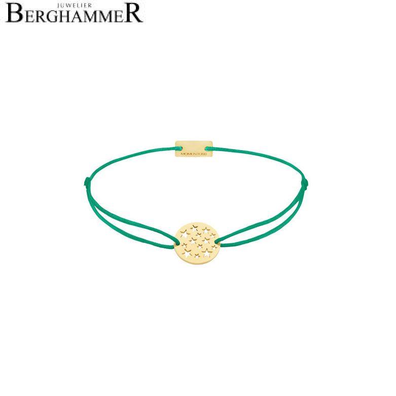 Filo Armband Textil Grasgrün Sterne 925 Silber gelbgold vergoldet 21202639