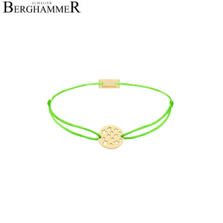 Filo Armband Textil Neon-Grün Sterne 925 Silber gelbgold vergoldet 21202640
