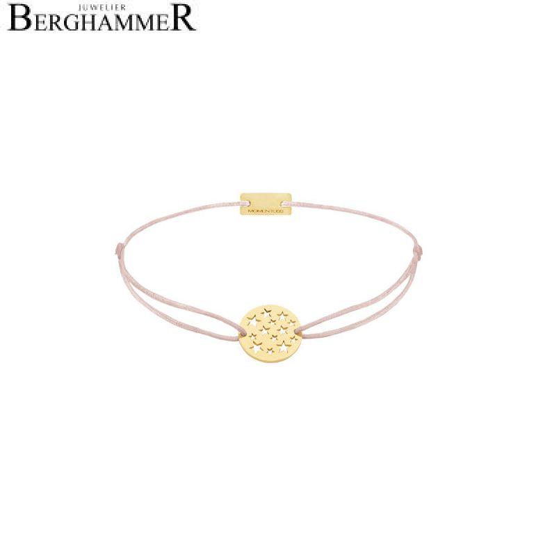 Filo Armband Textil Hellrosa Sterne 925 Silber gelbgold vergoldet 21202641