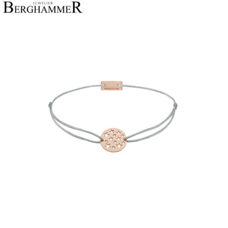 Filo Armband Textil Hellgrau Sterne 925 Silber roségold vergoldet 21202656