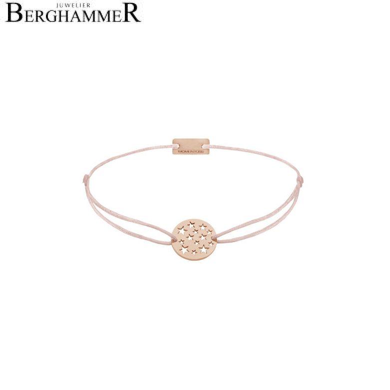 Filo Armband Textil Hellrosa Sterne 925 Silber roségold vergoldet 21202665