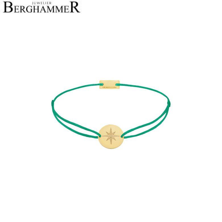 Filo Armband Textil Grasgrün 925 Silber gelbgold vergoldet 21202857