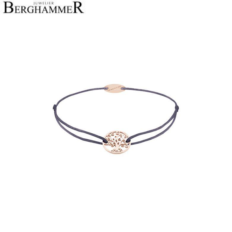 Filo Armband Textil Grau-Lila Lebensbaum 750 Gold roségold 21203225