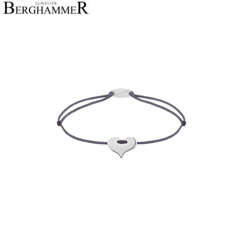 Filo Armband Textil Grau-Lila Herz 750 Gold weißgold 21203327