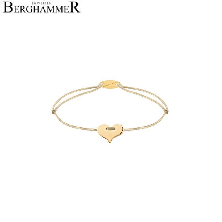 Filo Armband Textil Champagne Herz 750 Gold gelbgold 21203343