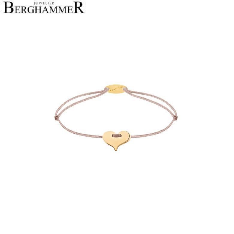 Filo Armband Textil Beige Herz 750 Gold gelbgold 21203347