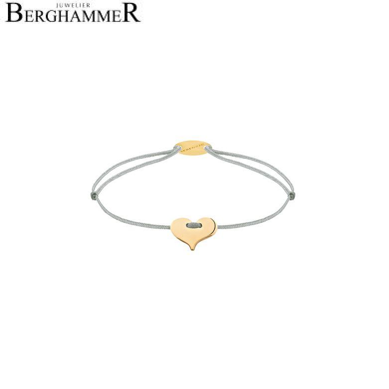 Filo Armband Textil Hellgrau Herz 750 Gold gelbgold 21203351
