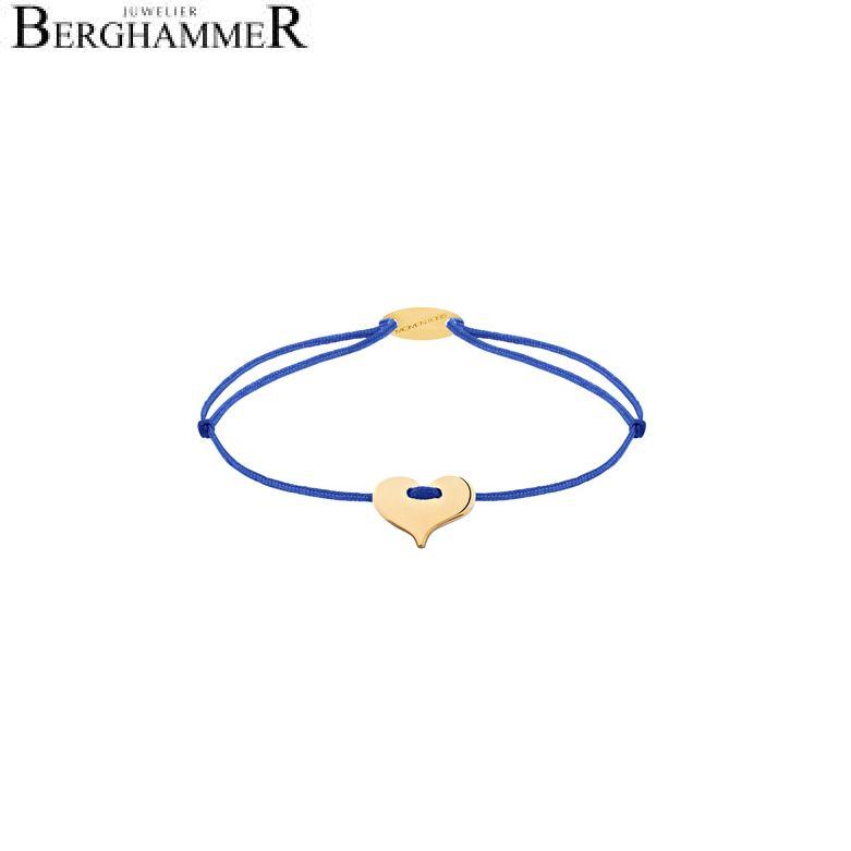 Filo Armband Textil Blitzblau Herz 750 Gold gelbgold 21203355