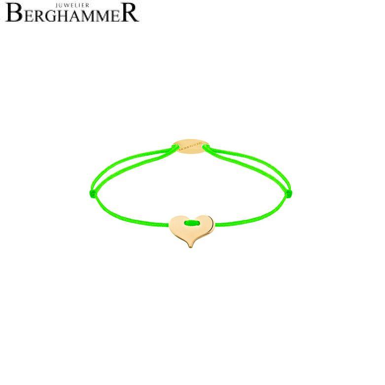 Filo Armband Textil Neon-Grün Herz 750 Gold gelbgold 21203359
