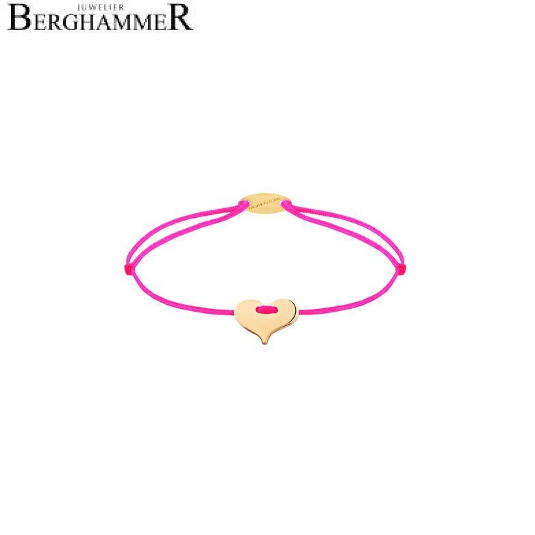 Filo Armband Textil Neon-Pink Herz 750 Gold gelbgold 21203363