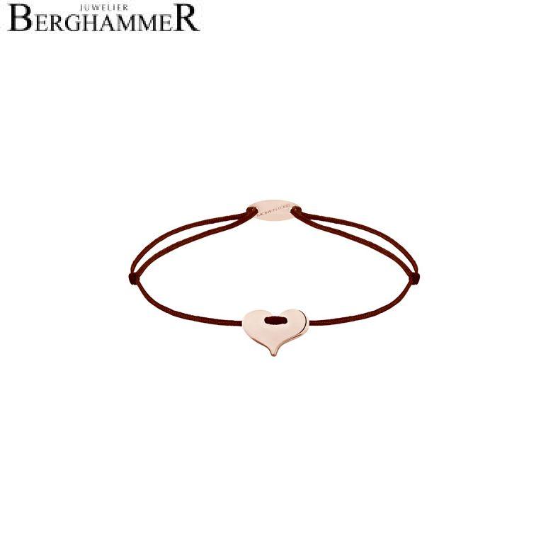 Filo Armband Textil Braun Herz 750 Gold roségold 21203371