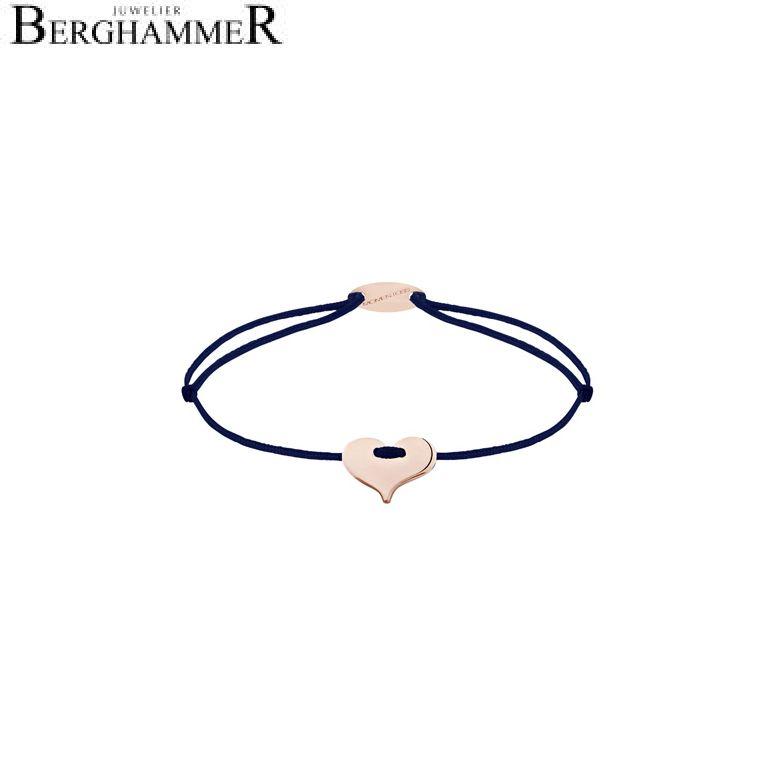 Filo Armband Textil Dunkelblau Herz 750 Gold roségold 21203379