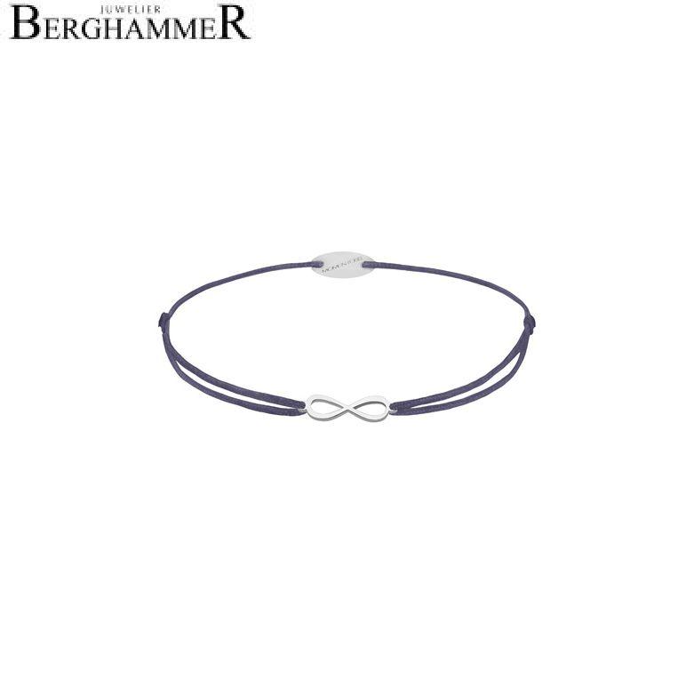 Filo Armband Textil Grau-Lila Infinity 750 Gold weißgold 21203395