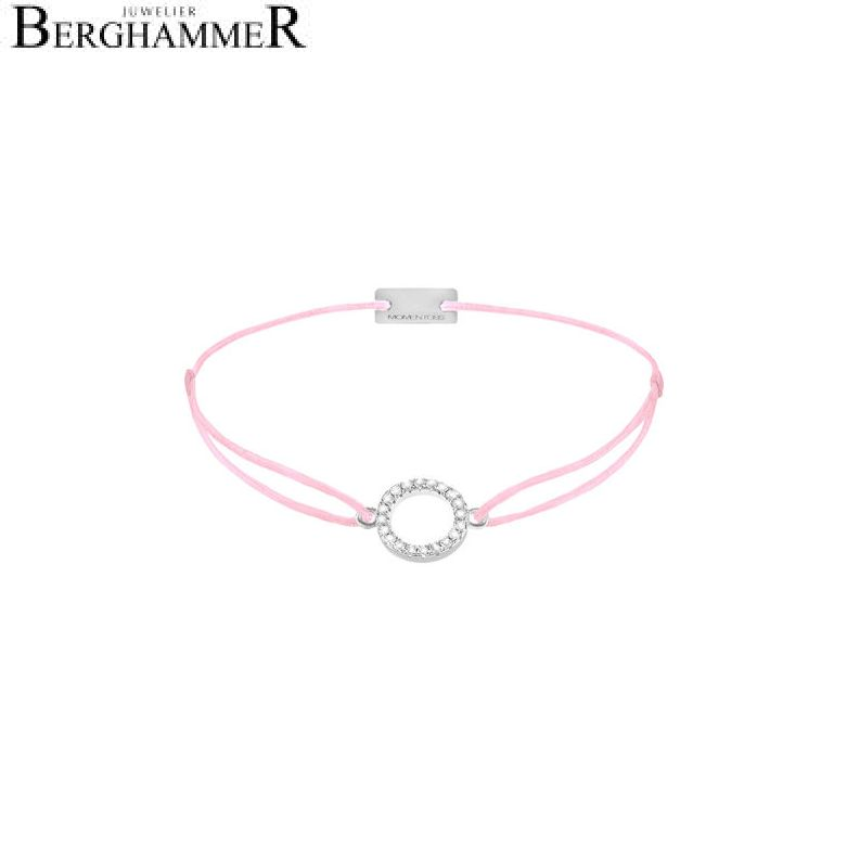 Filo Armband Textil Rosa Kreis 925 Silber rhodiniert 21203460