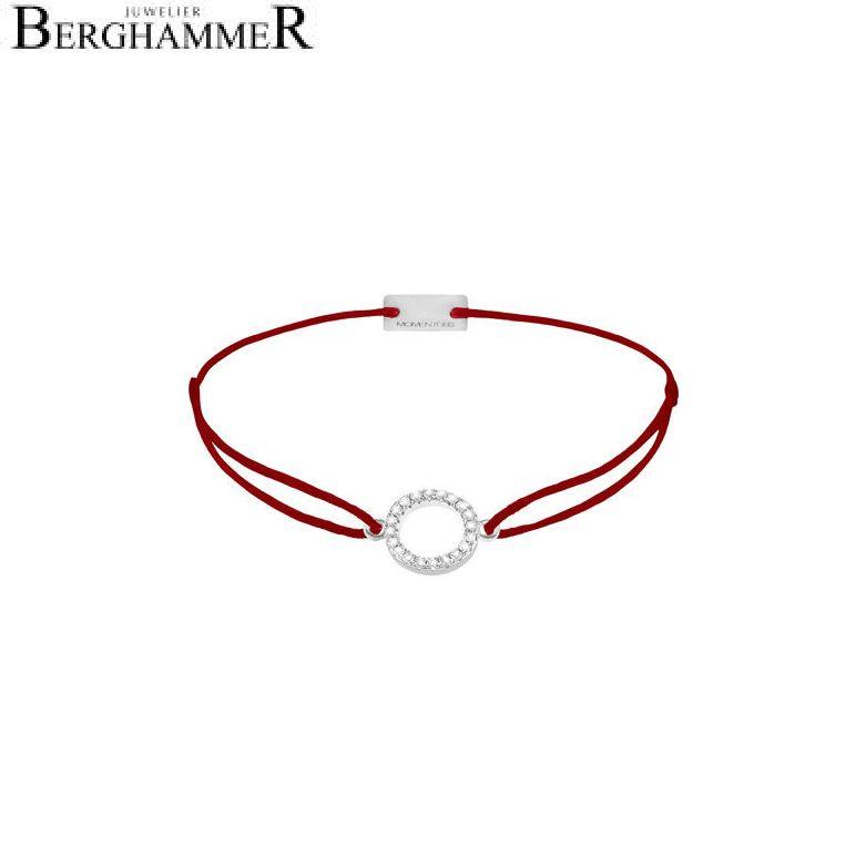 Filo Armband Textil Weinrot Kreis 925 Silber rhodiniert 21203461
