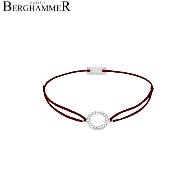 Filo Armband Textil Braun Kreis 925 Silber rhodiniert 21203464