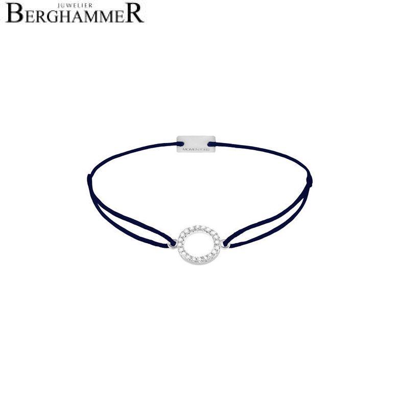 Filo Armband Textil Dunkelblau Kreis 925 Silber rhodiniert 21203472