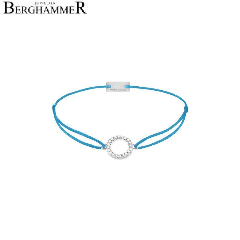 Filo Armband Textil Petrol Kreis 925 Silber rhodiniert 21203473