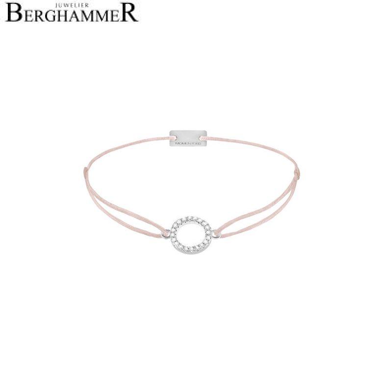 Filo Armband Textil Hellrosa Kreis 925 Silber rhodiniert 21203476