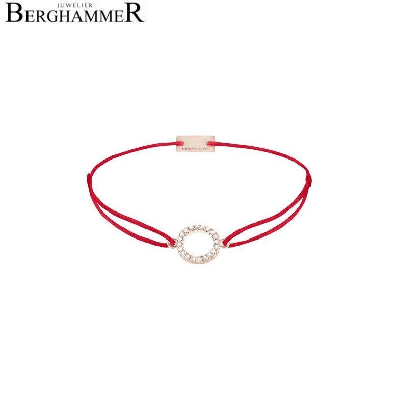 Filo Armband Textil Rot Kreis 925 Silber roségold vergoldet 21203481
