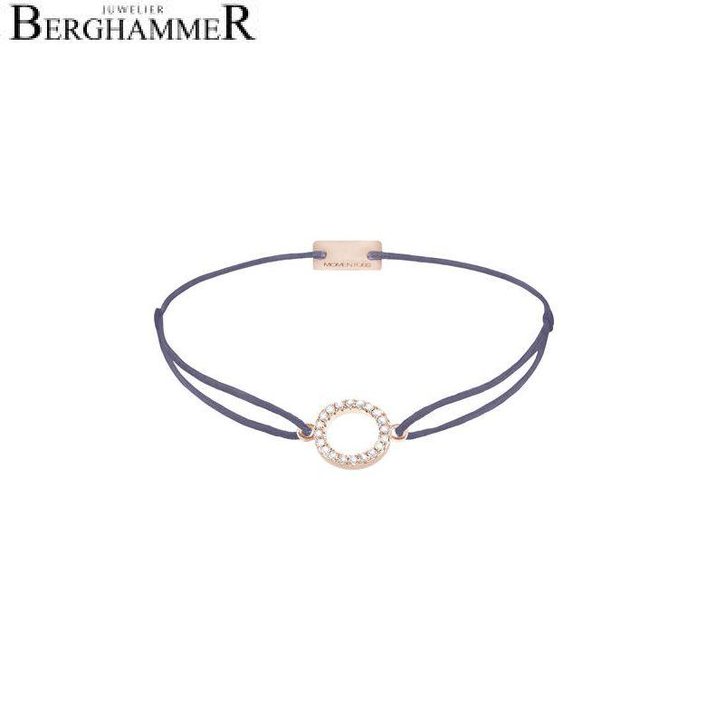 Filo Armband Textil Grau-Lila Kreis 925 Silber roségold vergoldet 21203489