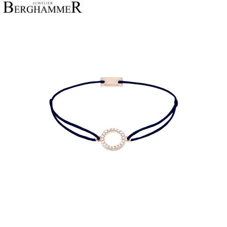 Filo Armband Textil Dunkelblau Kreis 925 Silber roségold vergoldet 21203496