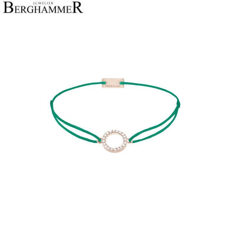 Filo Armband Textil Grasgrün Kreis 925 Silber roségold vergoldet 21203498