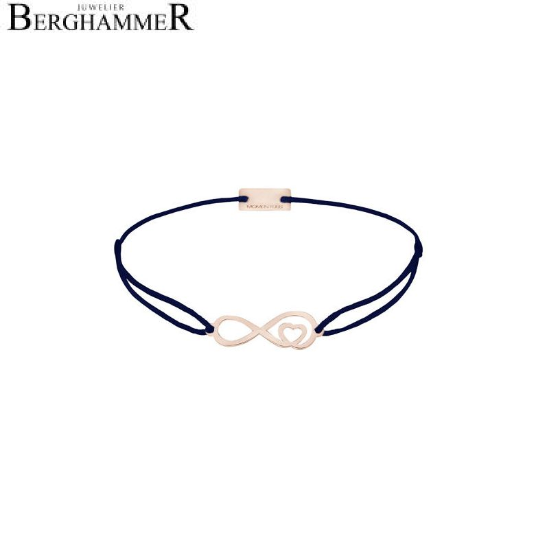 Filo Armband Textil Dunkelblau Infinity-Herz 925 Silber roségold vergoldet 21203883