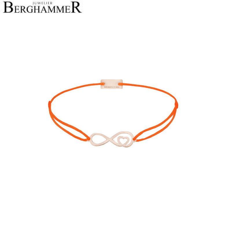 Filo Armband Textil Neon-Orange Infinity-Herz 925 Silber roségold vergoldet 21203891