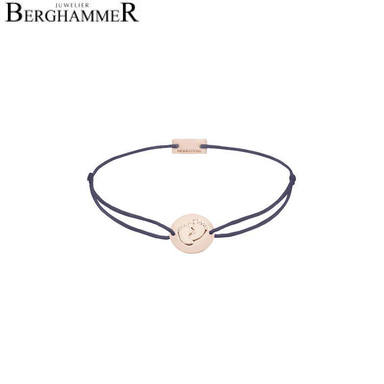 Filo Armband Textil Grau-Lila 925 Silber roségold vergoldet 21203947