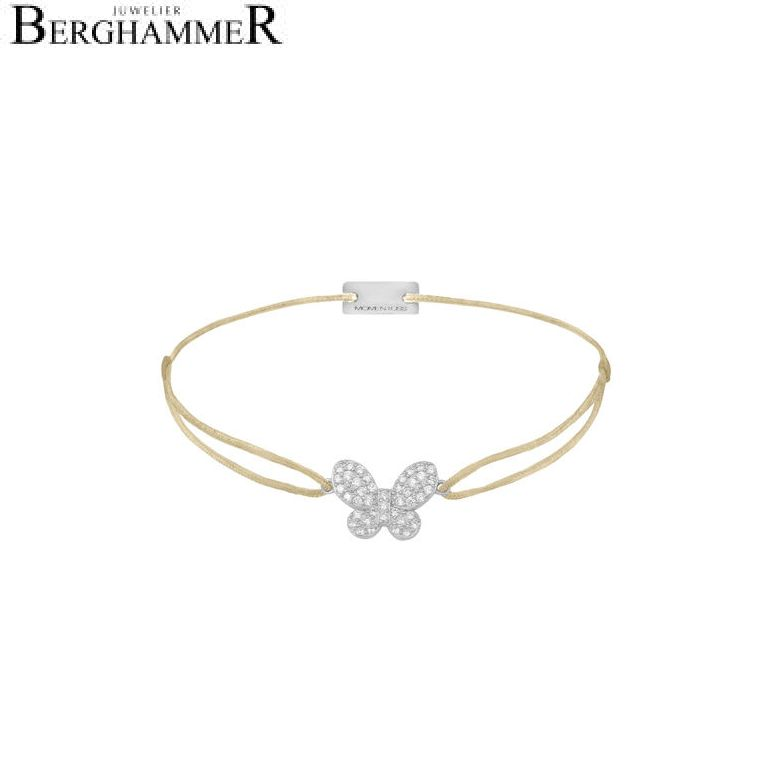 Filo Armband Textil Champagne Schmetterling 925 Silber rhodiniert 21203966