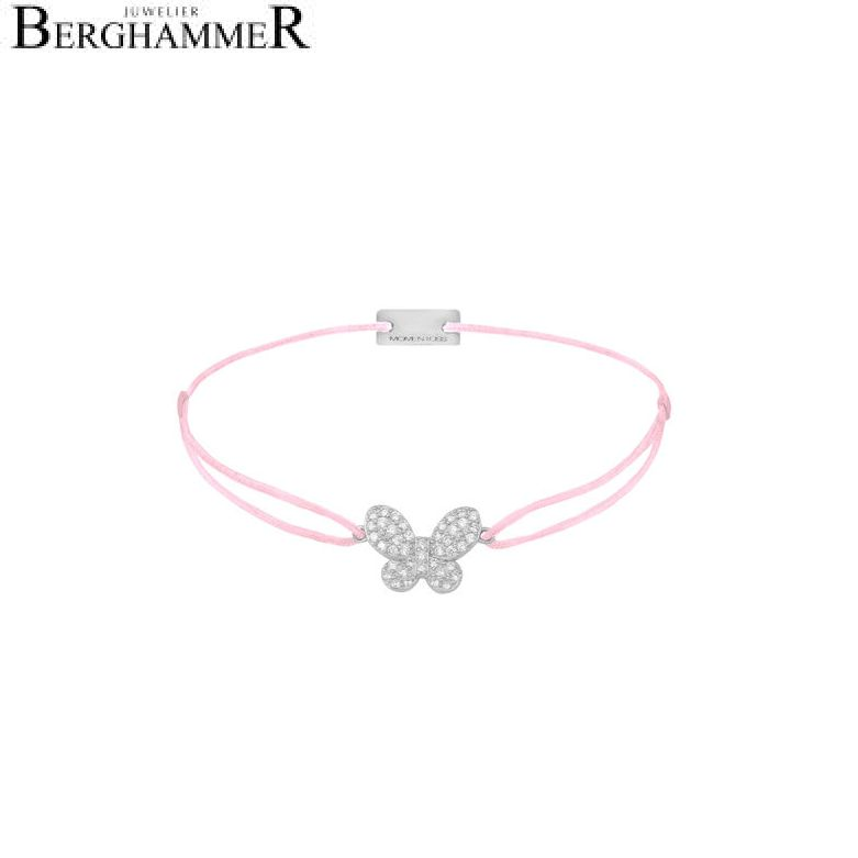 Filo Armband Textil Rosa Schmetterling 925 Silber rhodiniert 21203967