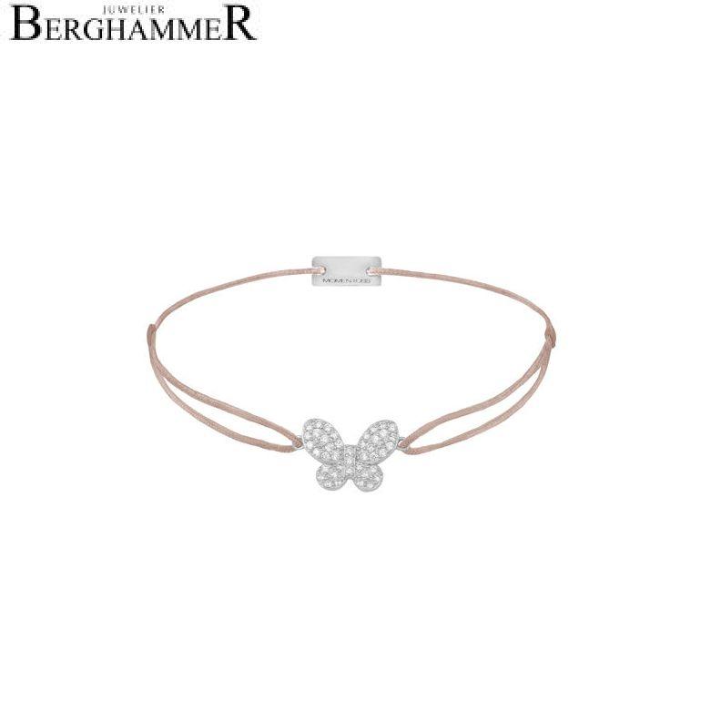 Filo Armband Textil Beige Schmetterling 925 Silber rhodiniert 21203970