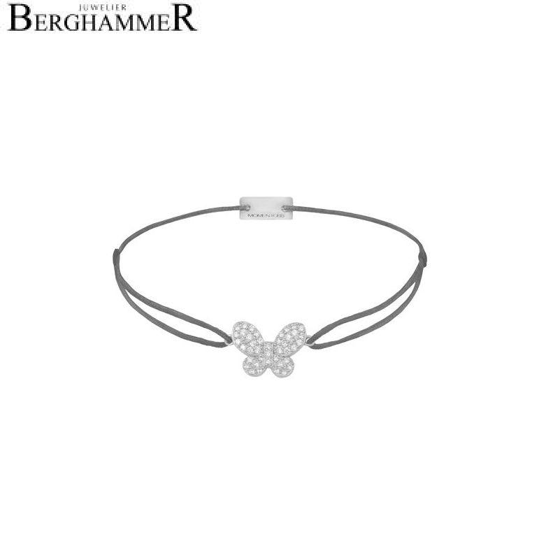 Filo Armband Textil Anthrazit Schmetterling 925 Silber rhodiniert 21203973