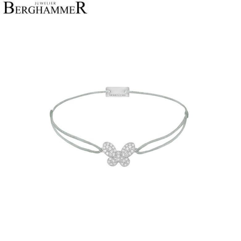 Filo Armband Textil Hellgrau Schmetterling 925 Silber rhodiniert 21203974