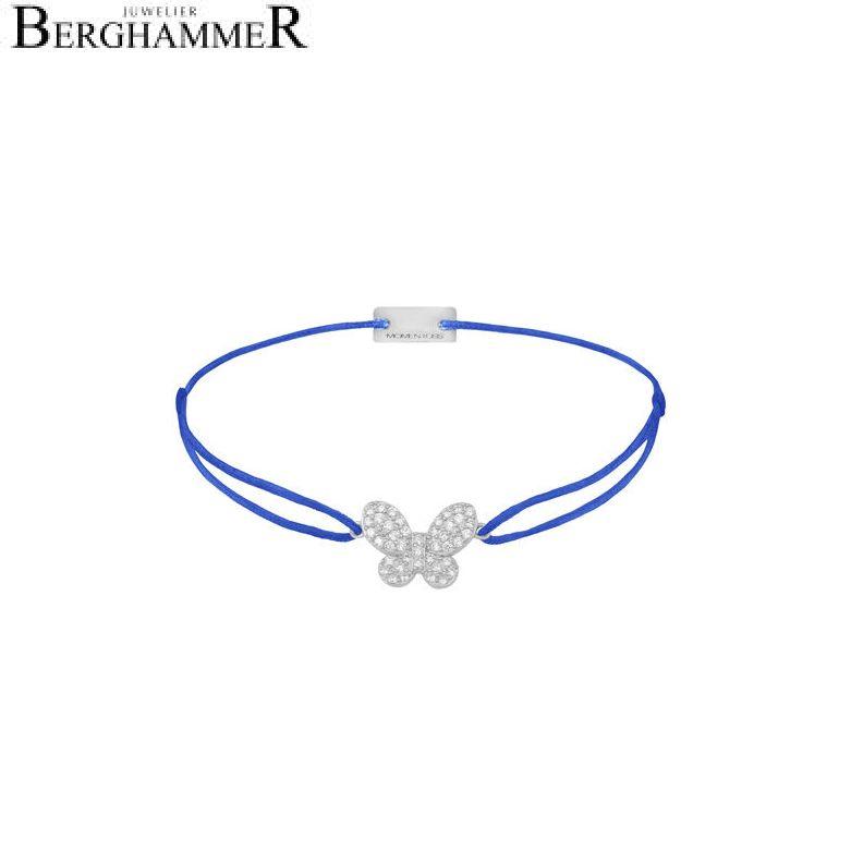 Filo Armband Textil Blitzblau Schmetterling 925 Silber rhodiniert 21203978