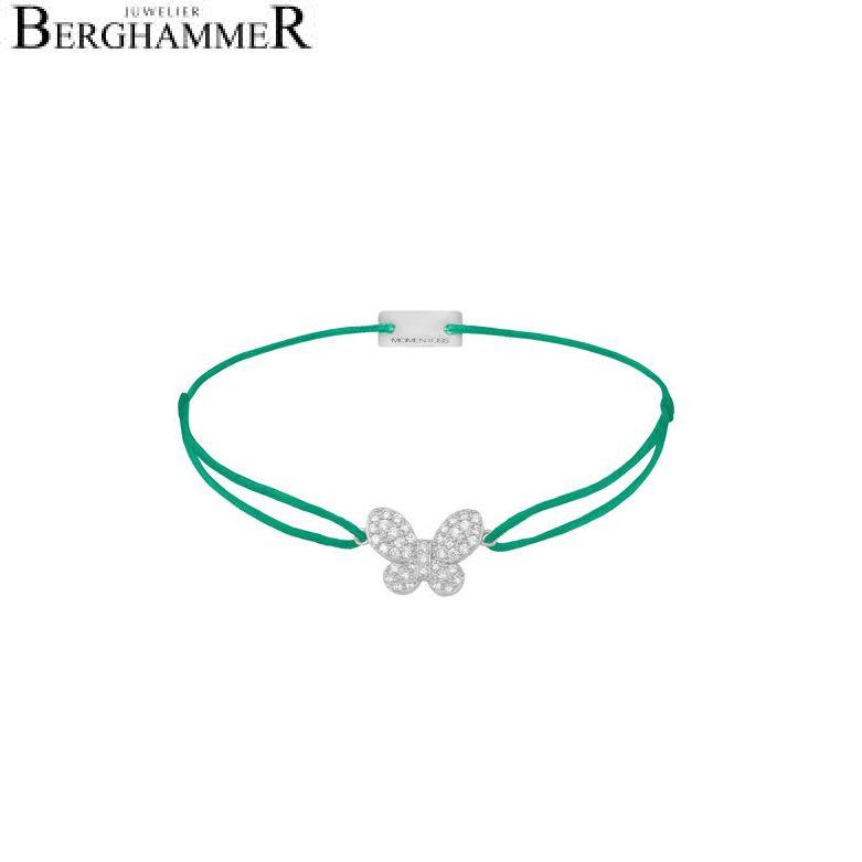 Filo Armband Textil Grasgrün Schmetterling 925 Silber rhodiniert 21203981