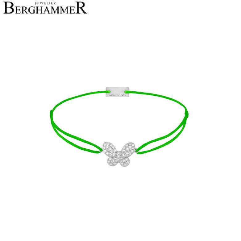 Filo Armband Textil Neon-Grün Schmetterling 925 Silber rhodiniert 21203982