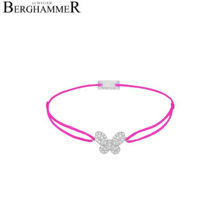 Filo Armband Textil Neon-Pink Schmetterling 925 Silber rhodiniert 21203986