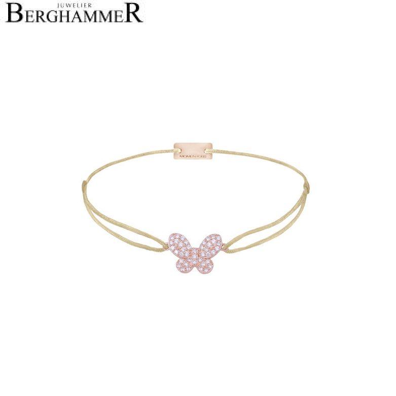 Filo Armband Textil Champagne Schmetterling 925 Silber roségold vergoldet 21203990