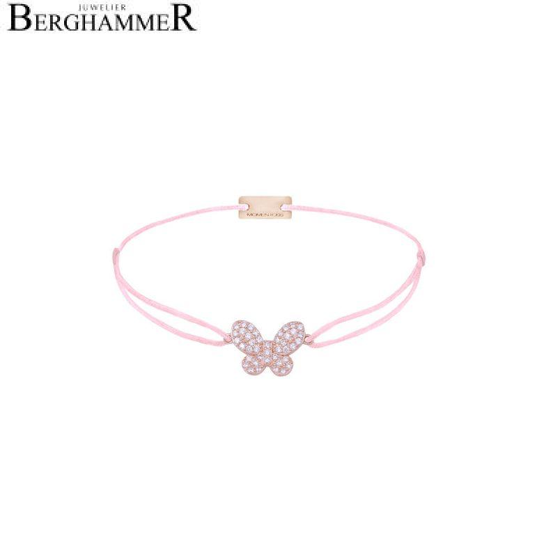 Filo Armband Textil Rosa Schmetterling 925 Silber roségold vergoldet 21203991
