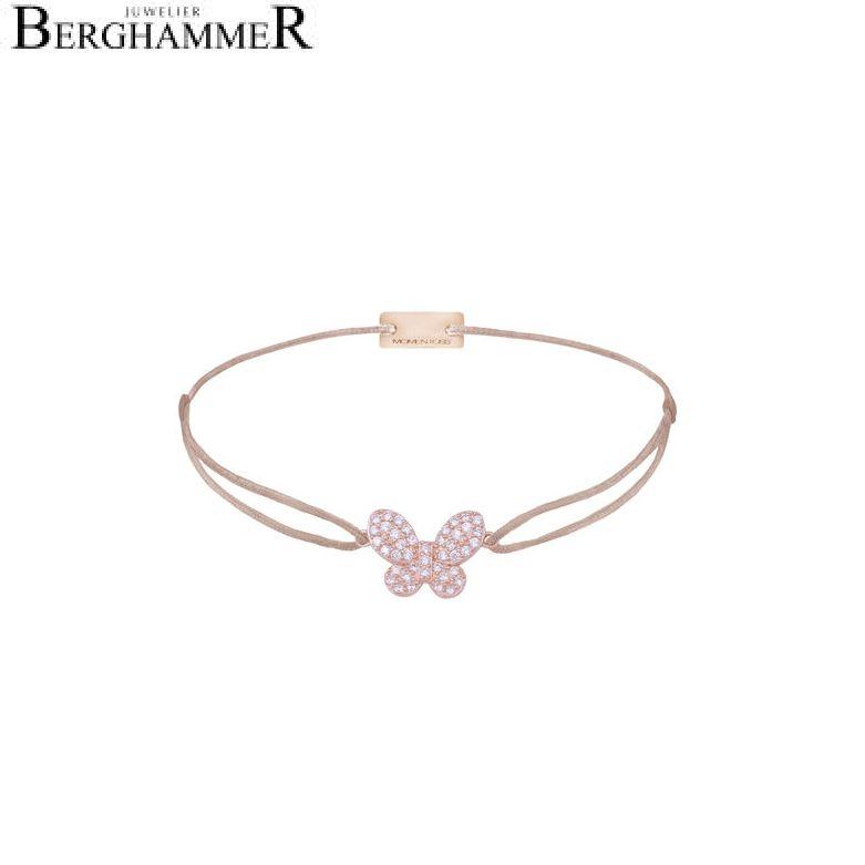 Filo Armband Textil Beige Schmetterling 925 Silber roségold vergoldet 21203994