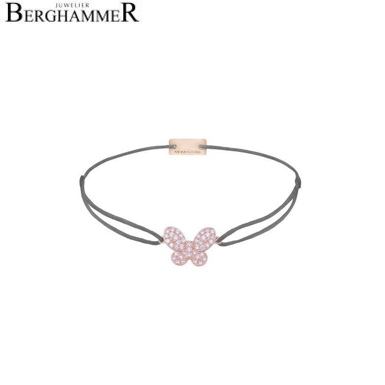 Filo Armband Textil Anthrazit Schmetterling 925 Silber roségold vergoldet 21203997