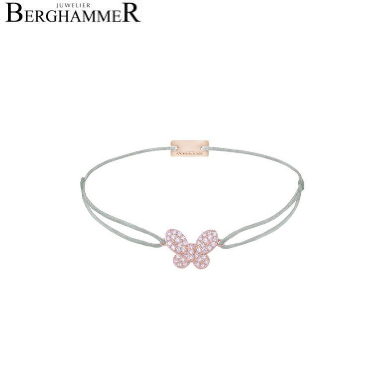 Filo Armband Textil Hellgrau Schmetterling 925 Silber roségold vergoldet 21203998