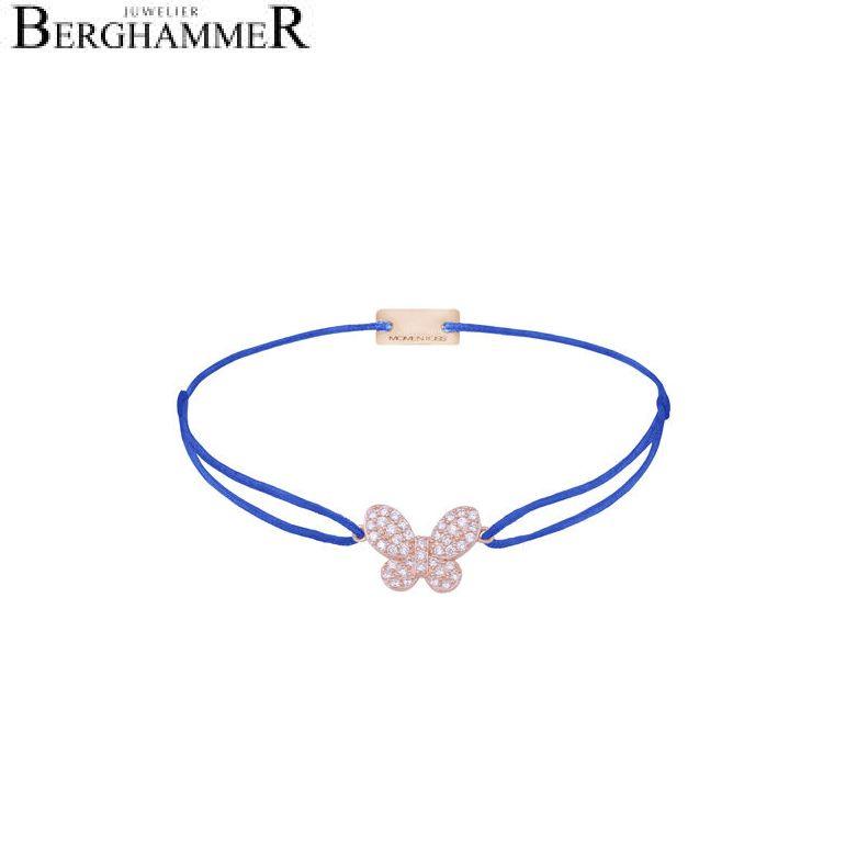 Filo Armband Textil Blitzblau Schmetterling 925 Silber roségold vergoldet 21204002
