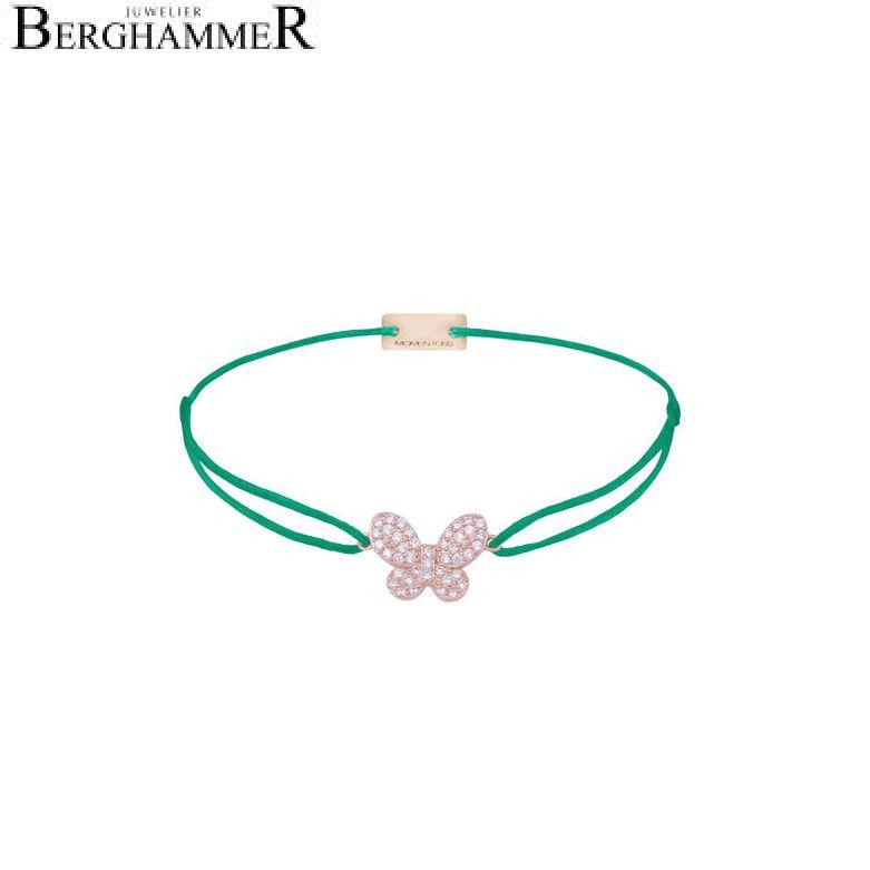 Filo Armband Textil Grasgrün Schmetterling 925 Silber roségold vergoldet 21204005