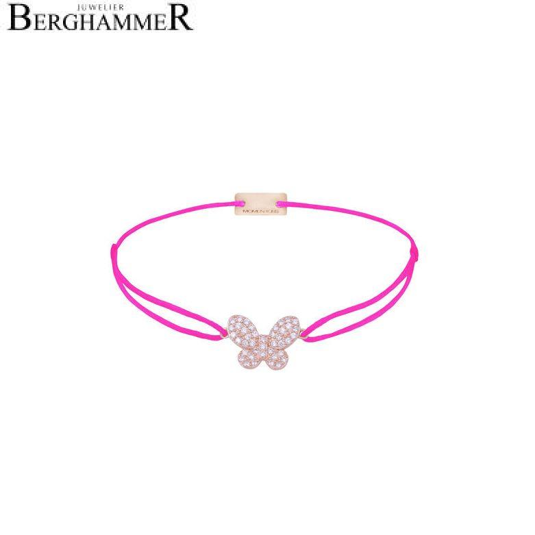 Filo Armband Textil Neon-Pink Schmetterling 925 Silber roségold vergoldet 21204010